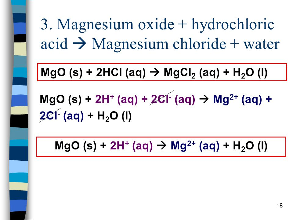 Magnesium Oxide Hydrochloric Acid Chloride Water