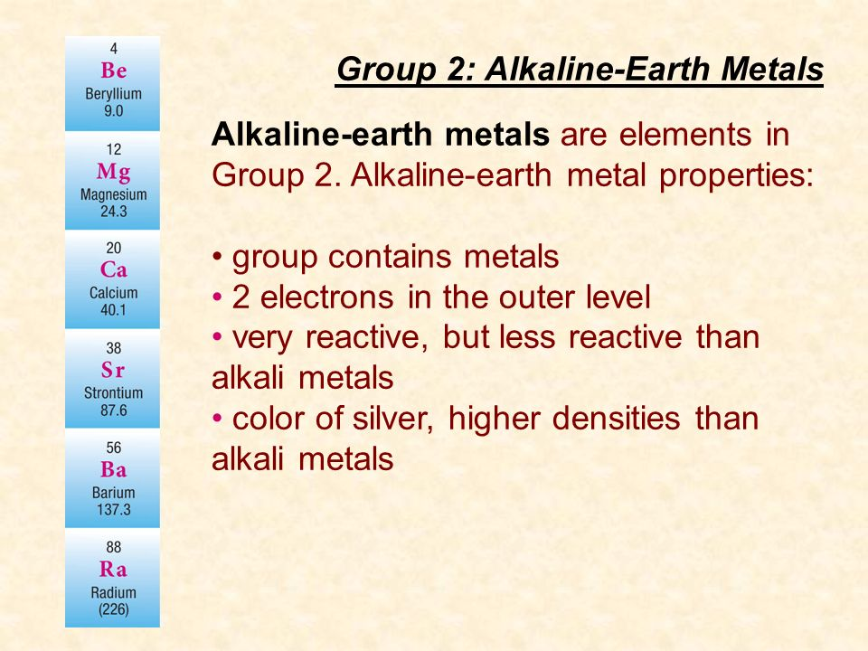 Periodic table group 2 elements in periodic table periodic group ii contents hopton general properties ppt download periodic table group 2 elements urtaz Gallery