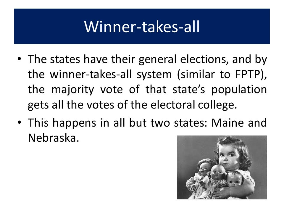 winner takes all system In a system based on multi-member districts, it may be referred to as winner-takes-all or bloc voting the system is often used to elect members of a legislative assembly or executive officers the system is often used to elect members of a legislative assembly or executive officers.