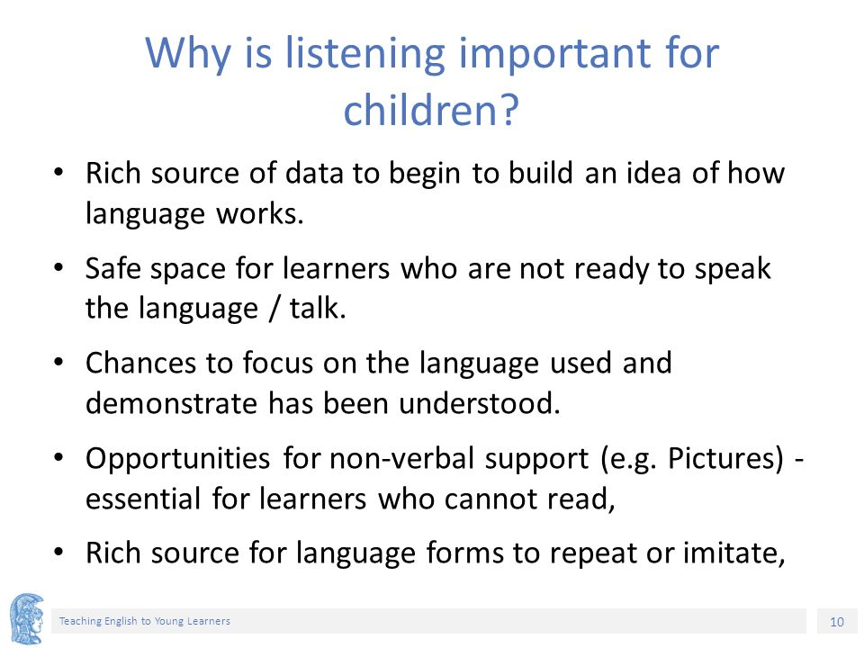importance of listening to children Take a moment to listen to what your children are trying to say listen today, whatever you do or they wont' be there to listen to you listen to their problems listen for their needs, praise their smallest triumphs, praise their  hy is listening important to children.