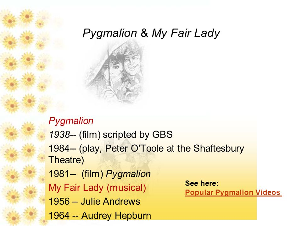 pygmalion essay questions Pygmalion essays - the themes of pygmalion,  to successfully answer the question of how effectively the playwrights dramatise the issues raised,.