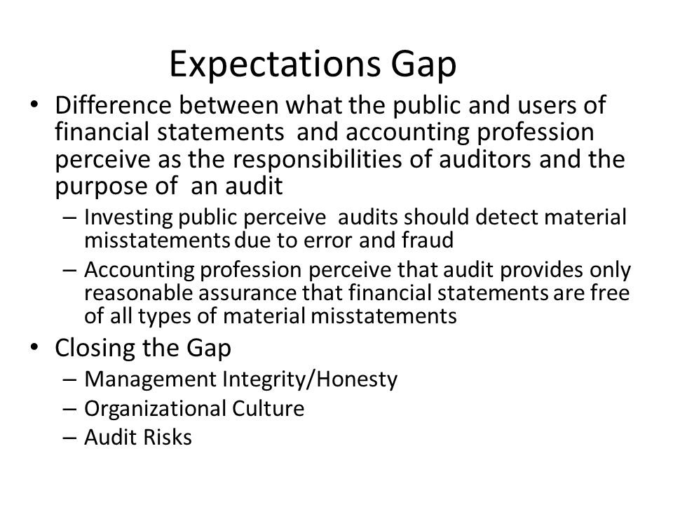 audit expectations gap Summer 2008/9 33 the audit expectation gap - alive and well in malaysia teck heang lee senior lecturer, faculty of accountancy and.