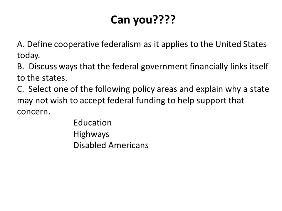 united states government and federalism essay If the states are united under one government, there will be but one national civil list to support if they are divided into several confederacies, there will be as many different national civil lists to be provided for--and each of them, as to the principal departments, coextensive with that which would be necessary for a government of the whole.