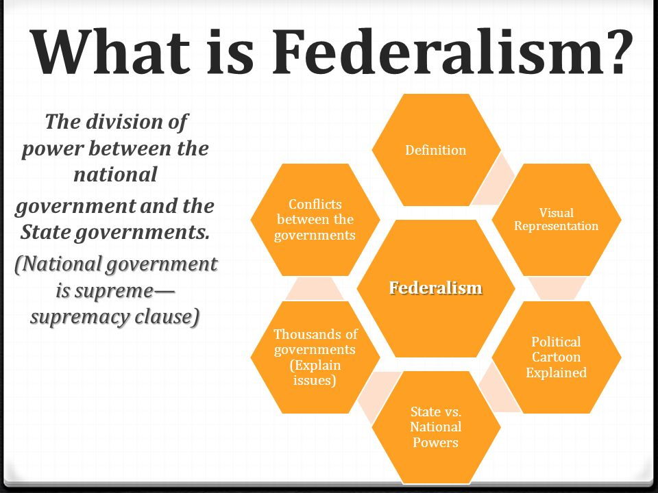 Unit 2 day 6 tlw develop an understanding of federalism for Versus definition