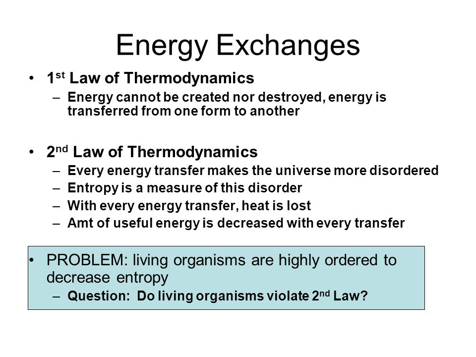 energy exchanges 1st law of thermodynamics 2nd law of thermodynamics
