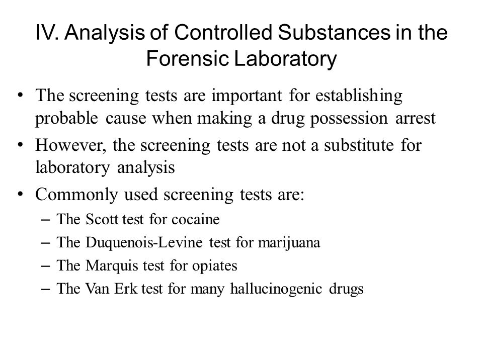 An analysis of drugs