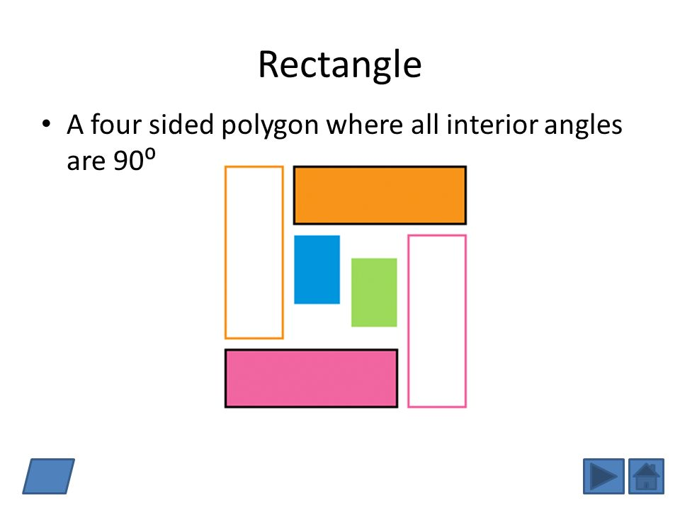 Rectangle A four sided polygon where all interior angles are 90⁰