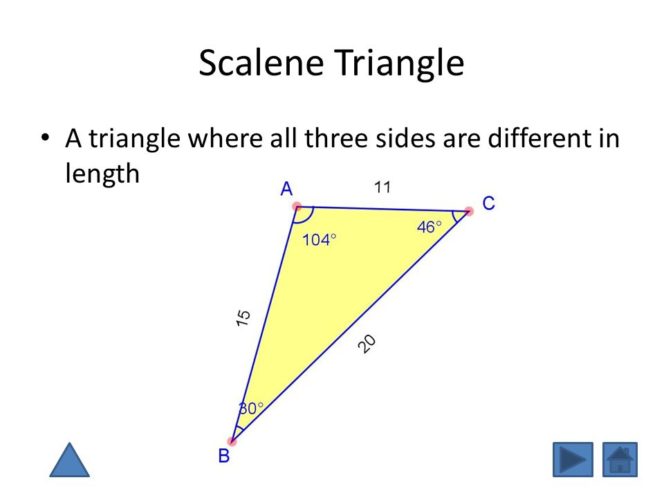 Scalene Triangle A triangle where all three sides are different in length