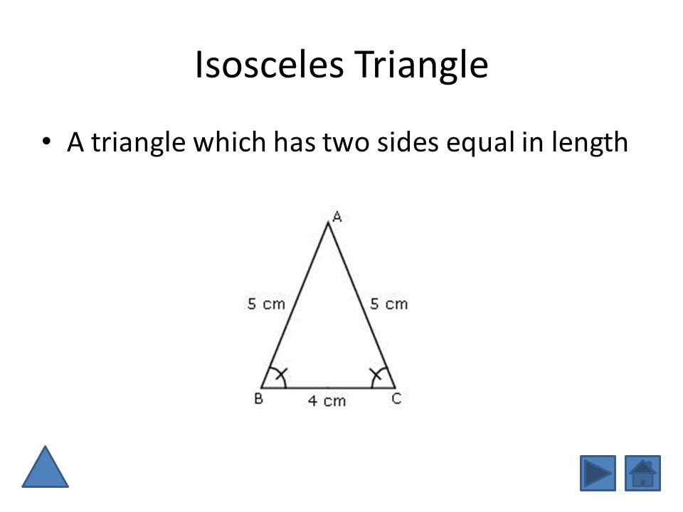 Isosceles Triangle A triangle which has two sides equal in length