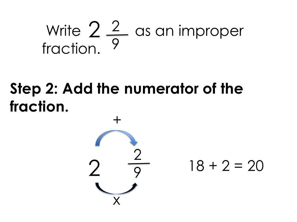 write as an improper fraction There are three types of fraction: mixed fractions or improper fractions we can use either an improper fraction or a mixed fraction to show the same amount for example 1 34 = 74, as shown here: 1 34 : 74 = converting improper fractions to mixed fractions to convert an improper fraction to a mixed fraction, follow these steps: divide the numerator by the denominator write.