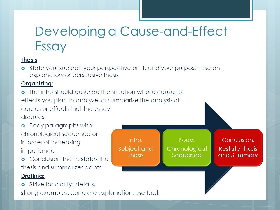 cause and effect analysis ppt  developing a cause and effect essay