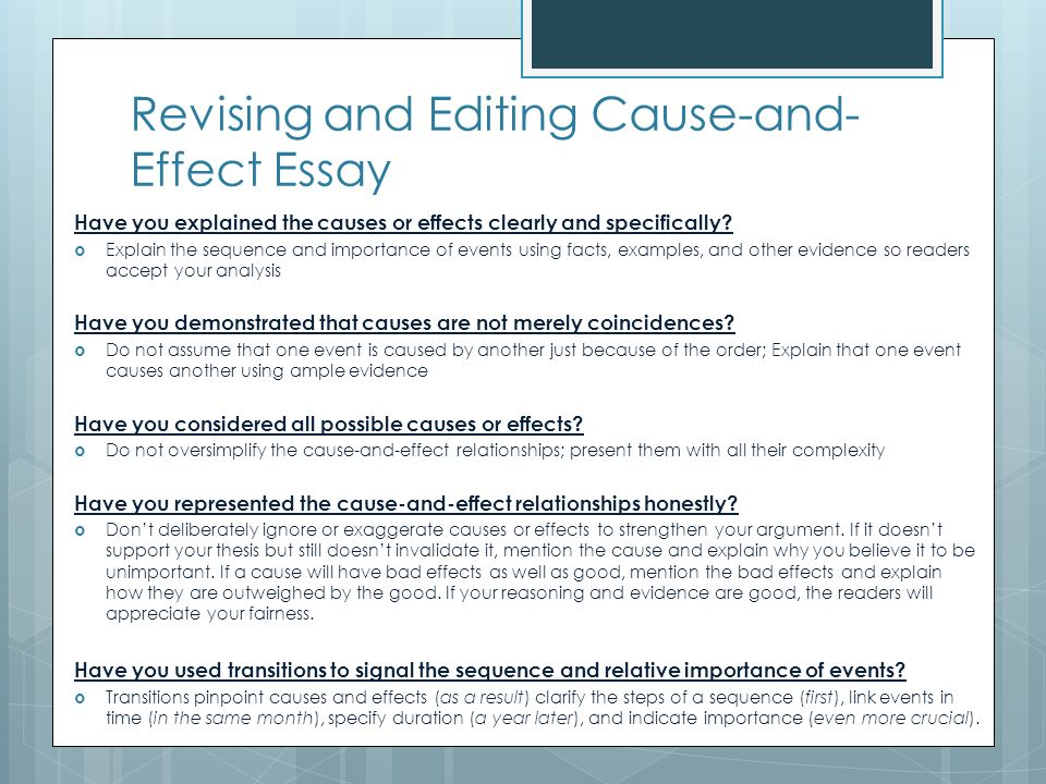 How To Write A Thesis Sentence For An Essay Revising And Editing Cause And Effect Essay  Cause And Effect Analysis  Essay Examples Samples Of Essay Writing In English also Samples Of Persuasive Essays For High School Students Cause And Effect Analysis Essay Examples Thesis Statement For  International Business Essays