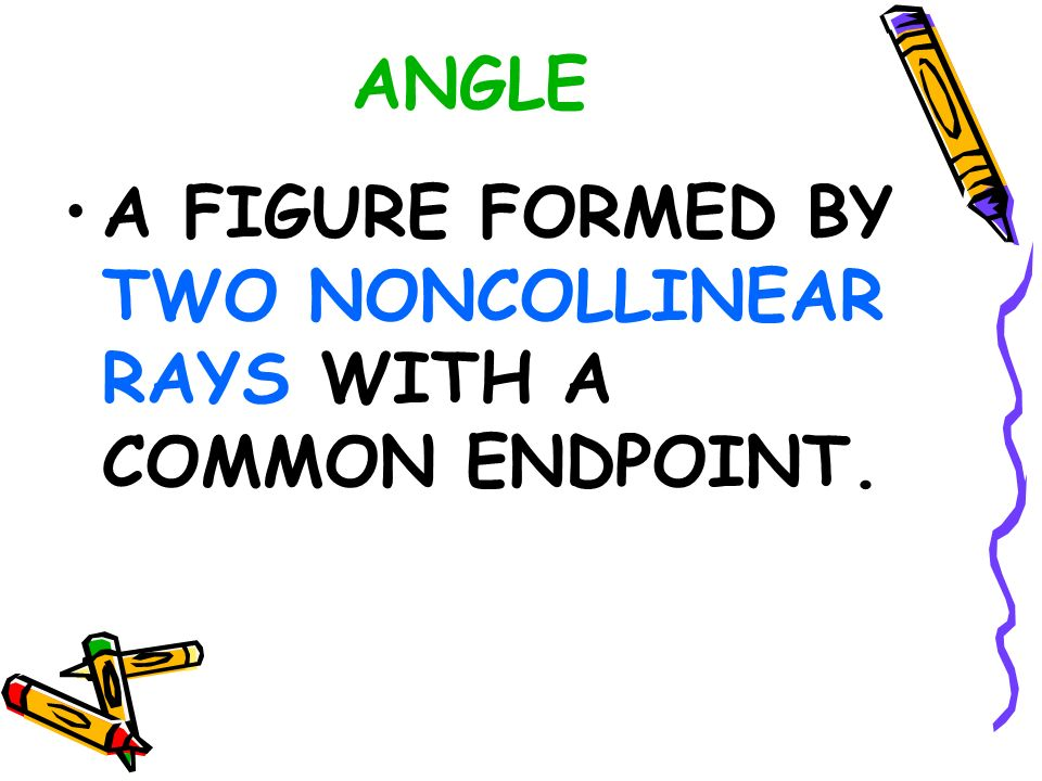 ANGLE A FIGURE FORMED BY TWO NONCOLLINEAR RAYS WITH A COMMON ...