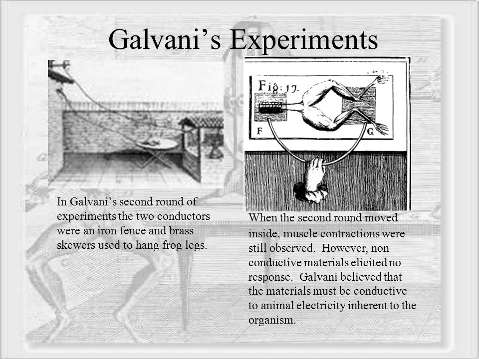 galvanism electricity and scientist luigi galvani Start studying scientists & concepts of electricity and light learn vocabulary, terms, and more with flashcards, games, and other study tools.