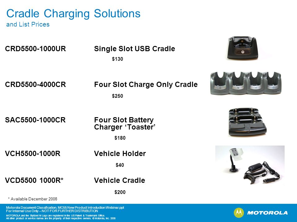 Cradle Charging Solutions and List Prices