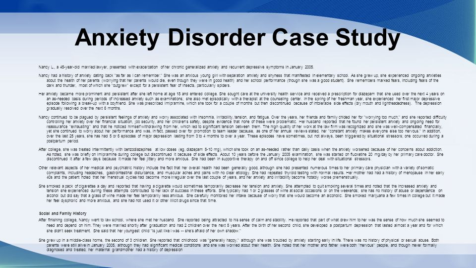 child generalized anxiety disorder case study Adult anxiety case studies anxiety disorder and ocd case study  anxiety and fatigue case study  eye contact and socialization in a child with autism (0.