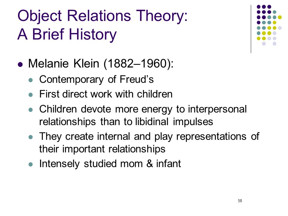 object relations theories klein and winnicot Lacan with d winnicott1  klein and freud despite the political and theoretical divisions that occurred within the  (unlike the object relations object),.