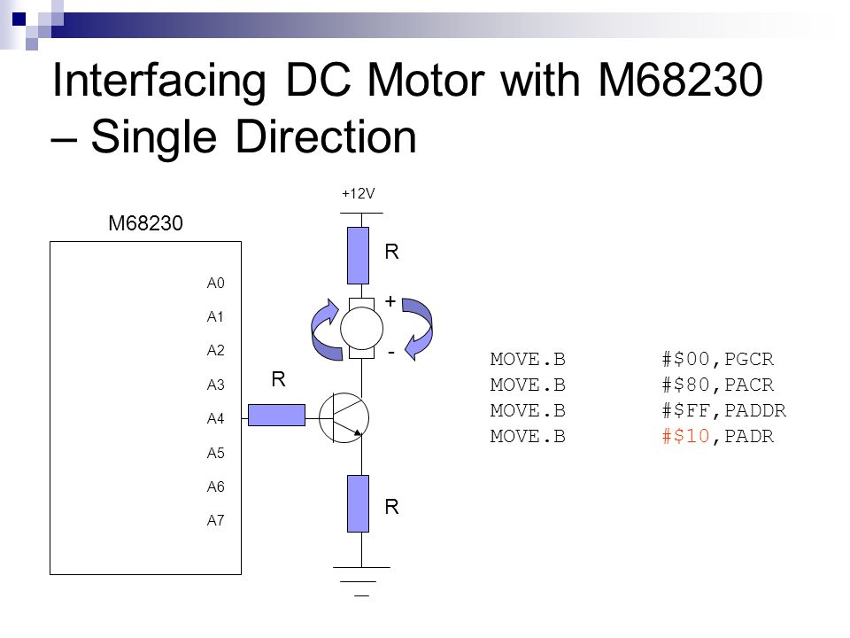 Interfacing DC Motor with M68230 – Single Direction