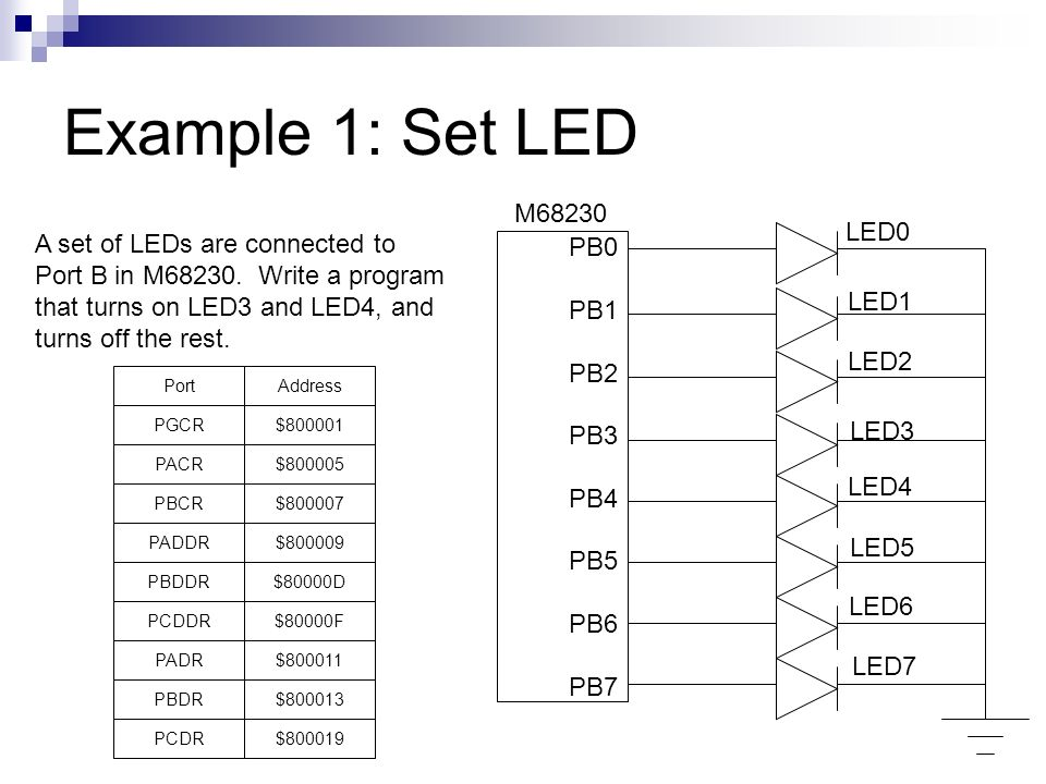 Example 1: Set LED M68230 LED0 A set of LEDs are connected to PB0