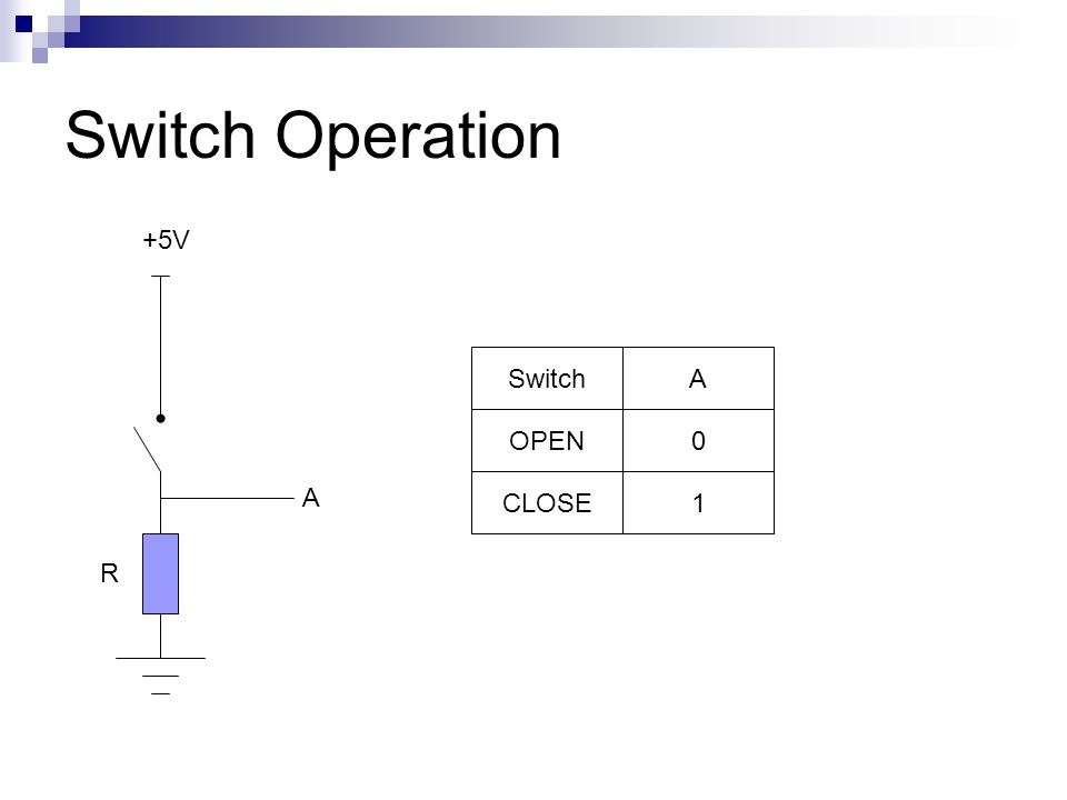 Switch Operation +5V Switch A OPEN A CLOSE 1 R