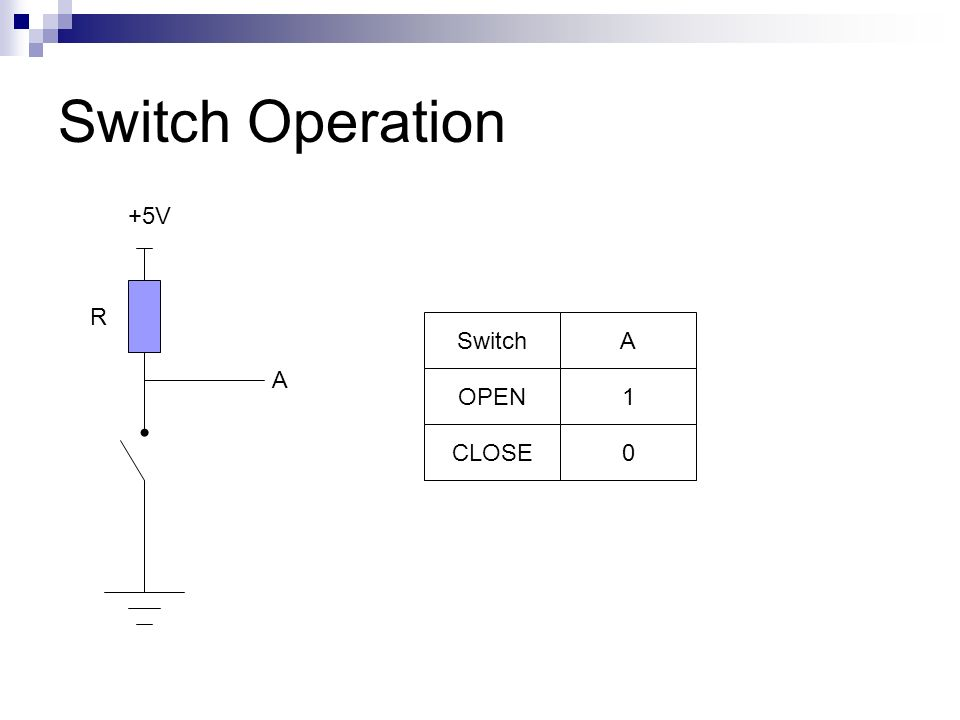 Switch Operation +5V R Switch A A OPEN 1 CLOSE