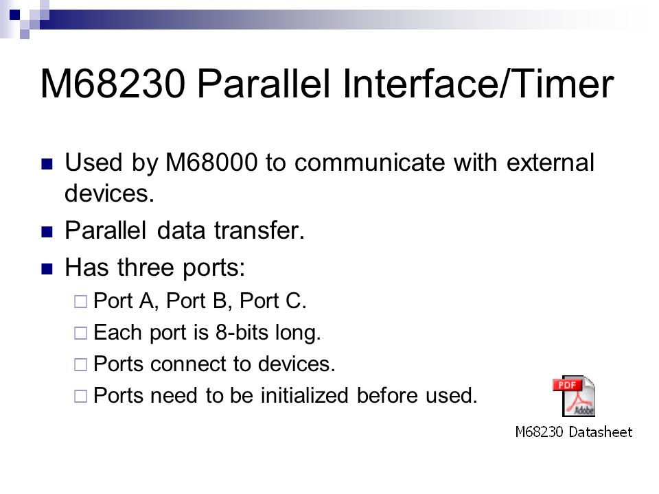 M68230 Parallel Interface/Timer