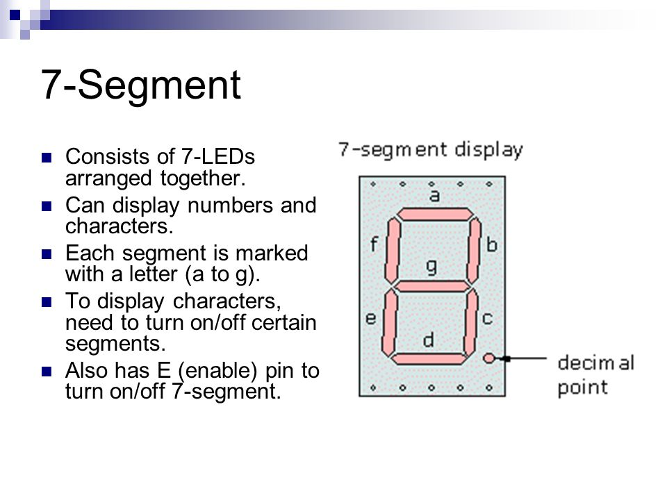 7-Segment Consists of 7-LEDs arranged together.