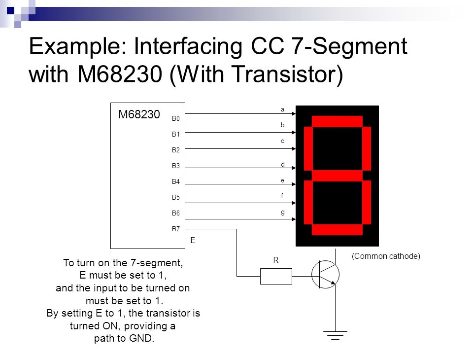 Example: Interfacing CC 7-Segment with M68230 (With Transistor)
