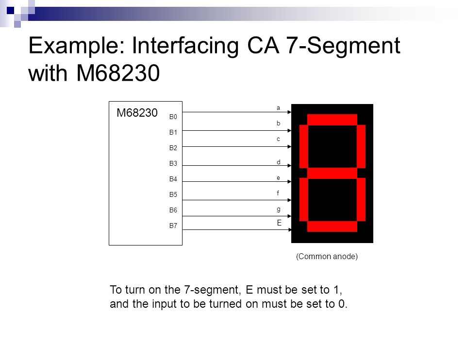 Example: Interfacing CA 7-Segment with M68230