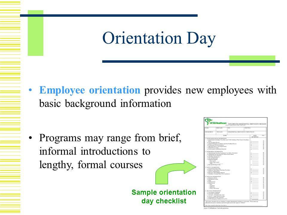 sample orientation checklist for new employee