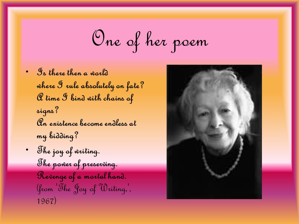 One of her poem