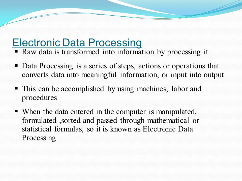 What are the 3 types of electronic data processing?