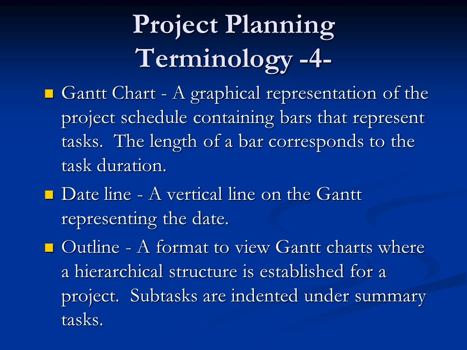 project management terminology This glossary is an excerpt from ron black's book, the complete idiot's guide to project management with microsoft project 2003, which is available in bookstores january 2005.