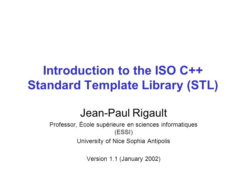 Introduction To The Iso C Standard Template Library Stl Ppt