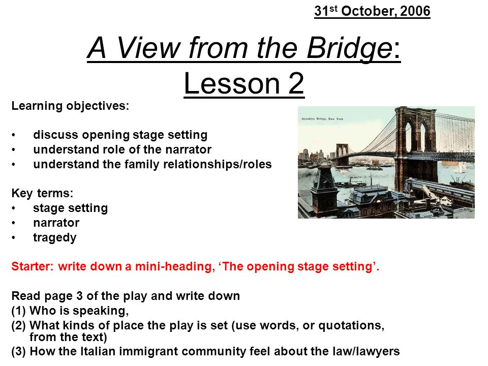 the tragedy in a view from the bridge Arthur miller's classic, a view from the bridge  the secrets, suspicions, and jealousies that haunt the family and the community erupt into tragedy.