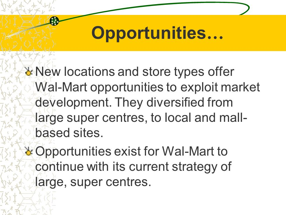 wal marts strengths and weaknesses Wal-mart stores inc is the largest retail company in the united states and has   placed on identifying the resources of the firm, its weaknesses and strengths in.