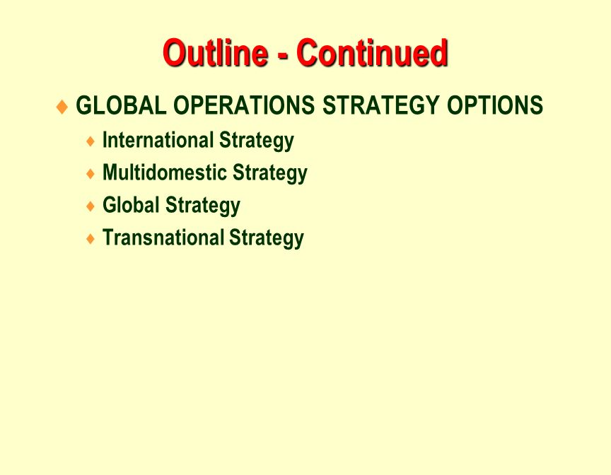 Four global operations strategy options