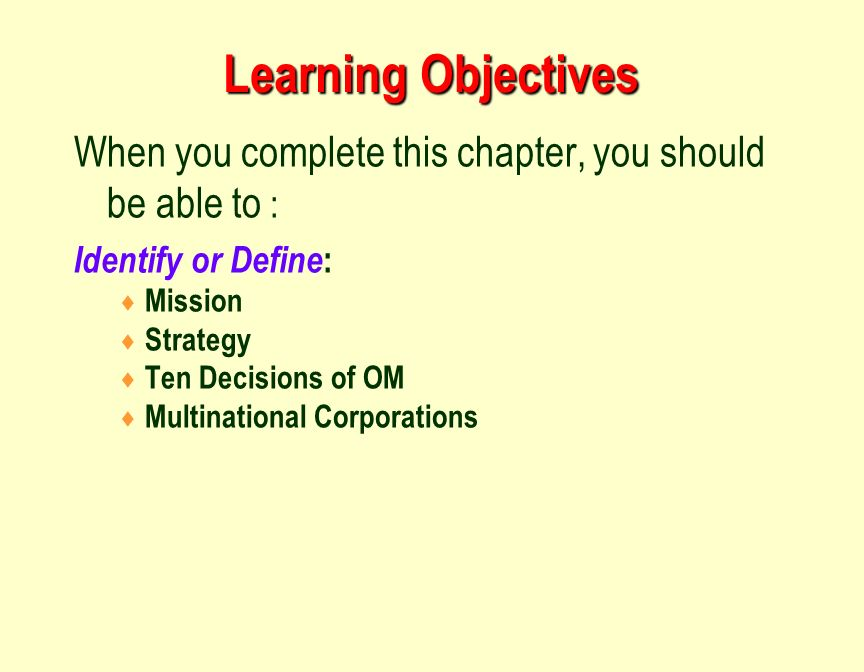 ten om decisions Here is another great diagram for our course which describes how these 10 om  decisions give us a competitive advantage.