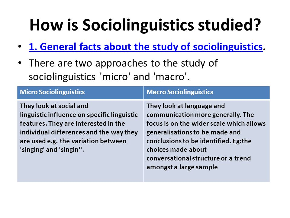 "macro and micro sociolinguistics You are concerned with both ""macro"" and ""micro"" and with relating the two of course, it would tend to focus on macro sociolinguistics."