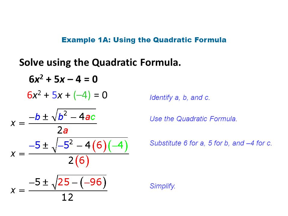 Solving Quadratic Equations By Using The Formula Worksheet
