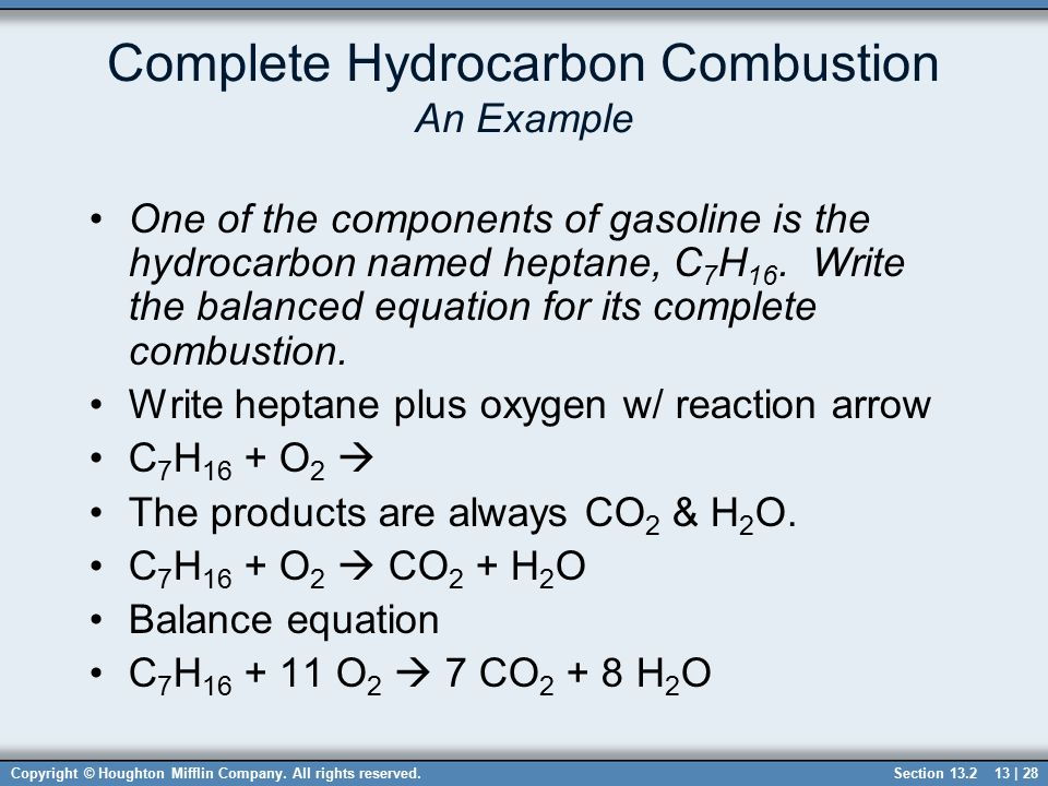 Write a balanced chemical equation for the complete combustion of heptane?