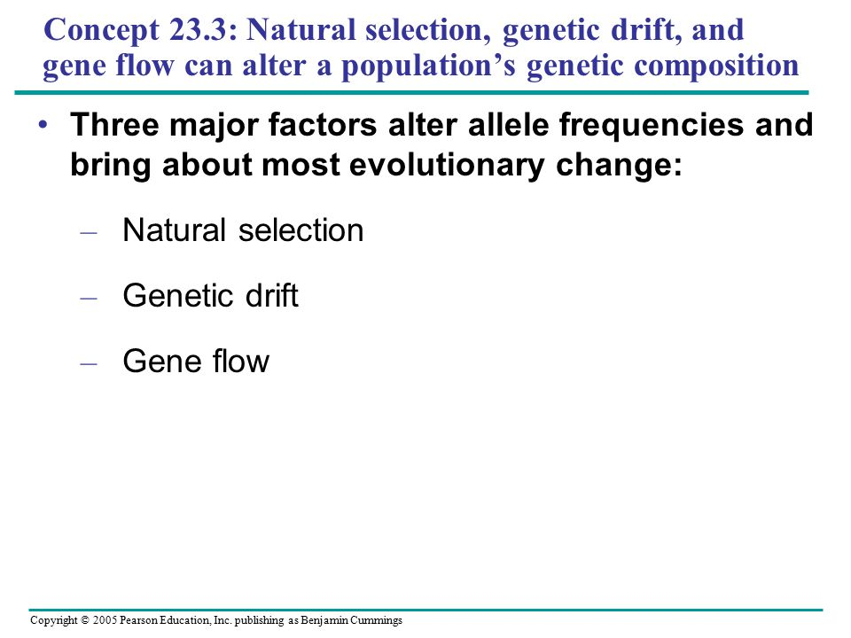 Concept 23.3: Natural selection, genetic drift, and gene flow can alter a population's genetic composition
