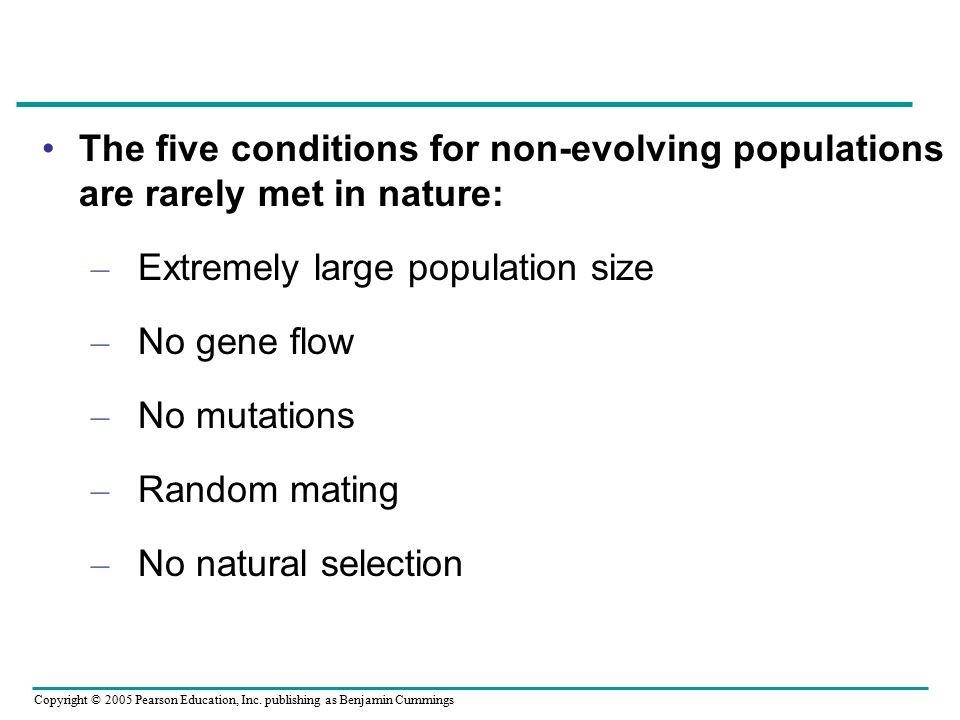 The five conditions for non-evolving populations are rarely met in nature: