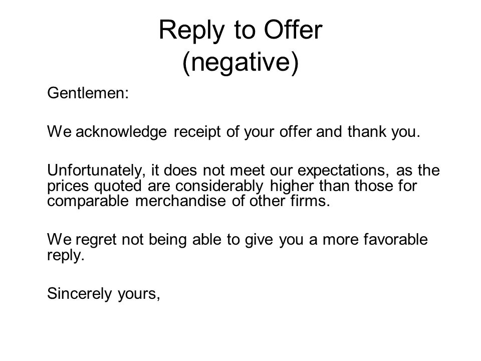 thank you for your offer