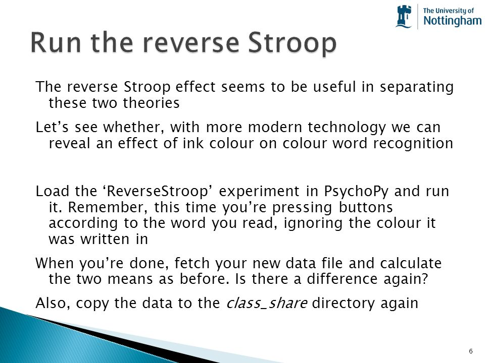 an experiment into the stroop effect We decompose the stroop effect into three conflicts—task,  thus, in the specific case of a stroop experiment that includes neutral, congruent,.