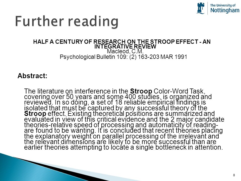 automaticity and the stroop effect An investigation of the stroop effect among deaf signers in english and japanese: automatic processing or memory retrieval mary flaherty, college lecturer and aidan moran automaticity seems to hold true for both japanese and english in the hearing group.