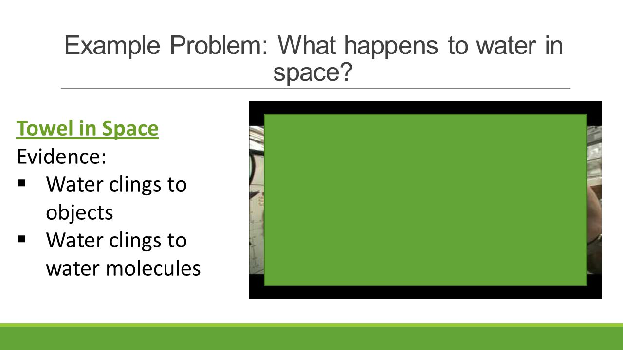 Example Problem: What happens to water in space