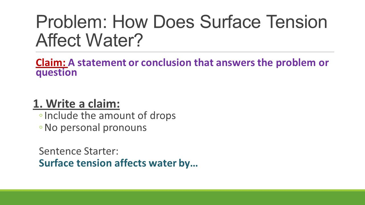 Problem: How Does Surface Tension Affect Water