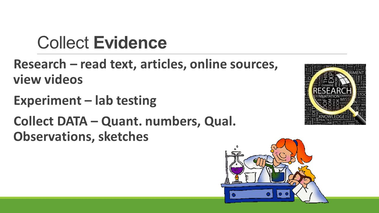 Collect Evidence Research – read text, articles, online sources, view videos. Experiment – lab testing.