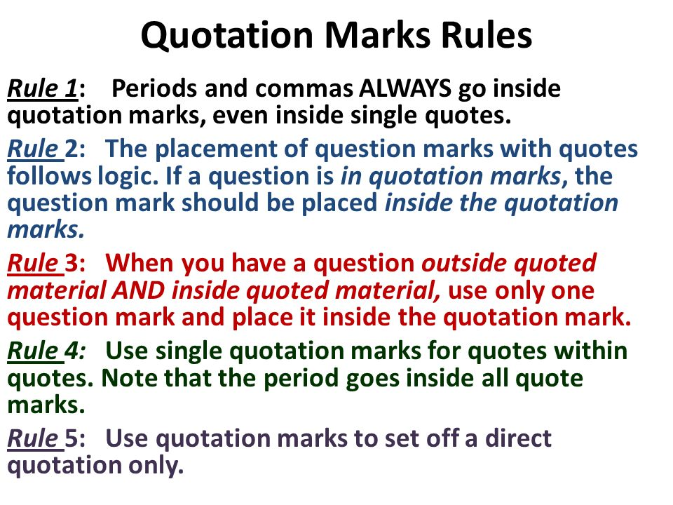 Does Question Mark Go Inside Quotes: The Use Of Quotation Marks Mini-Lesson